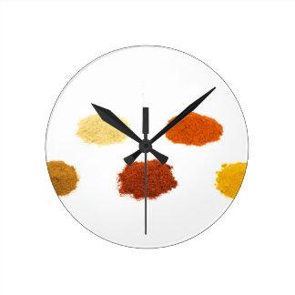 Heaps of several seasoning spices on white wallclocks