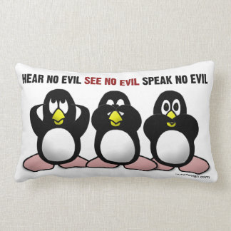 Hear No Evil, See No Evil, Speak No Evil Lumbar Pillow