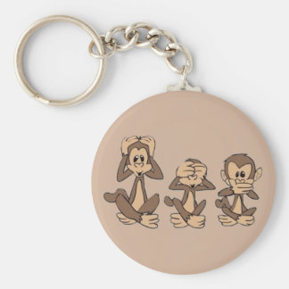 Hear No Evil, See No Evil, Speak No Evil Monkeys Key Ring