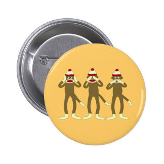 Hear, See, Speak No Evil Sock Monkeys 6 Cm Round Badge