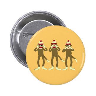 Hear, See, Speak No Evil Sock Monkeys Pins