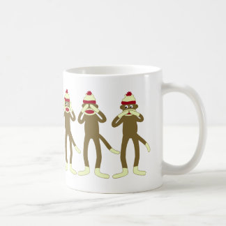 Hear, See, Speak No Evil Sock Monkeys Coffee Mug