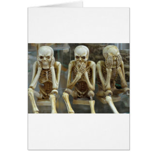 Hear, Speak, See No Evil Skeletons Card