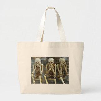 Hear, Speak, See No Evil Skeletons Large Tote Bag