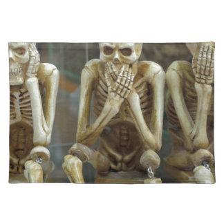 Hear, Speak, See No Evil Skeletons Placemat