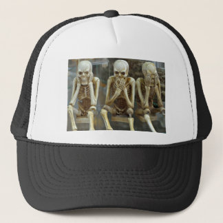 Hear, Speak, See No Evil Skeletons Trucker Hat