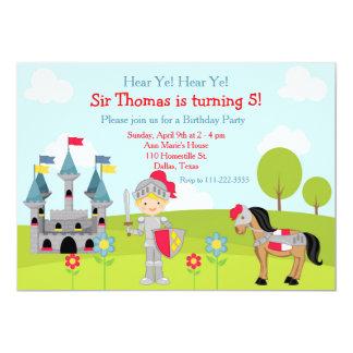 Hear Ye Blonde Cute Knight Birthday Party Card