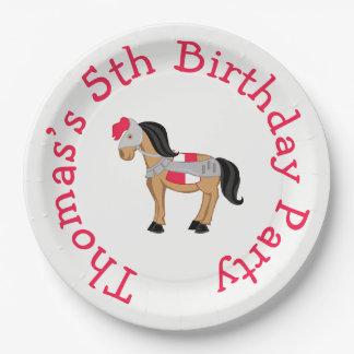 Hear Ye Blonde Cute Knight Horse Paper Plate