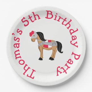 Hear Ye Brunette Knight Horse Paper Plate