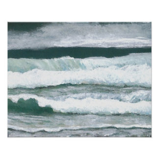 Hearing the Waves Crash Ocean Seashore Art Poster