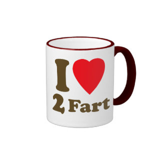 Heart 2 Fart Pass the Gas Silent Deadly Love Ringer Coffee Mug