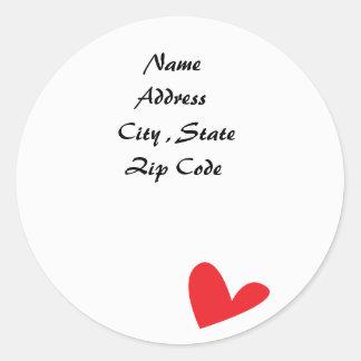 Heart  -Address Labels Round Sticker