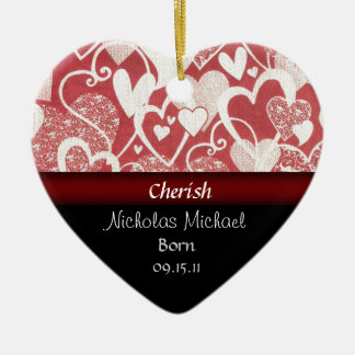 Heart Adoption Announcement Keepsake Ceramic Ornament