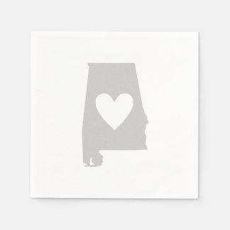 Heart Alabama state silhouette Disposable Serviette