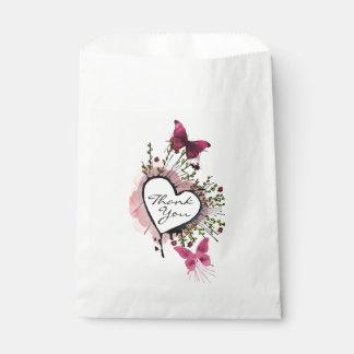 Heart and butterflies Thank you favor bag Favour Bags