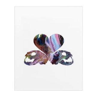 Heart and cat skulls acrylic print