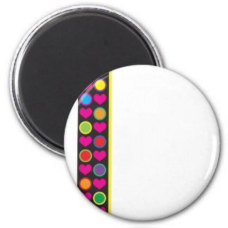 Heart and Circle Border 6 Cm Round Magnet