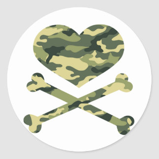 heart and cross bones light camo round sticker