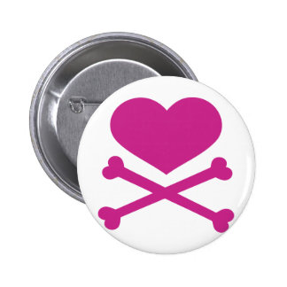 heart and crossbones hot pink 6 cm round badge