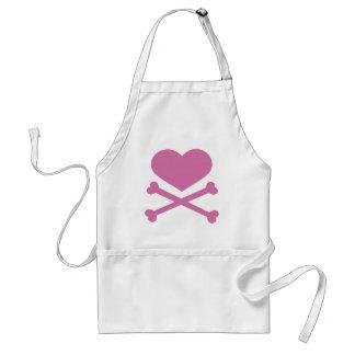 heart and crossbones soft pink standard apron