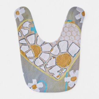 Heart and Daisies infant bib