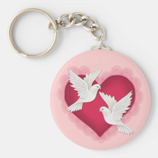Heart and Doves - Pink Key Ring