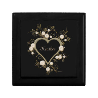 Heart and Flowers Gold and Silver on Black Gift Box