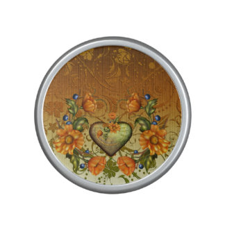 Heart and Flowers on Damask Bluetooth Speaker
