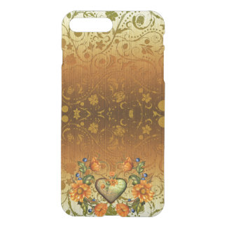 Heart and Flowers on Damask iPhone 7 Plus Case