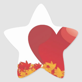 Heart And Leaves With Autumn Love Star Stickers