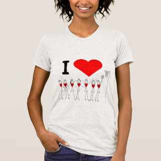 Heart and Player Positions I Love Netball T-Shirt