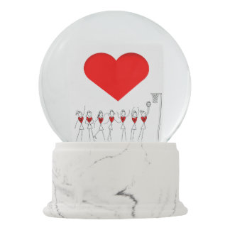 Heart and Player Positions Netball Snow Globe