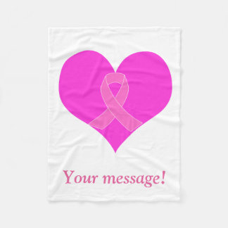 Heart and Ribbon Breast Cancer Charity Design Fleece Blanket