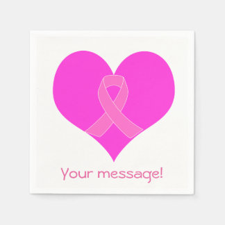 Heart and Ribbon Breast Cancer Charity Design Paper Napkin