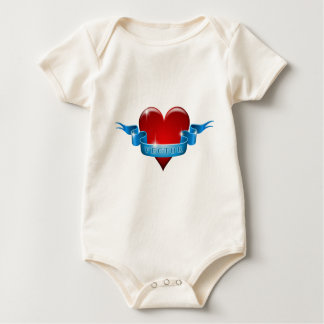 Heart and ribbon remix love baby bodysuit