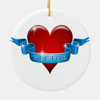 Heart and ribbon remix love round ceramic decoration