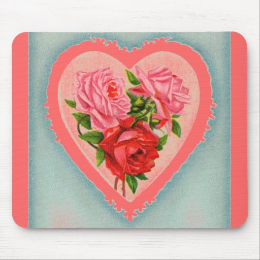 Heart and Roses Mouse Pad