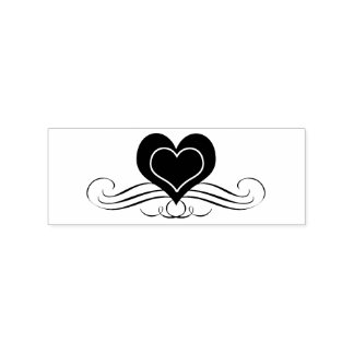 Heart and Scrolling Flourish Rubber Stamp