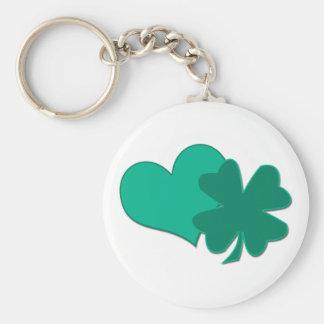 Heart and Shamrock Basic Round Button Key Ring