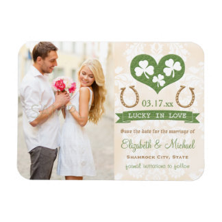 Heart and Shamrock Lucky Horseshoe Save the Date Rectangular Photo Magnet