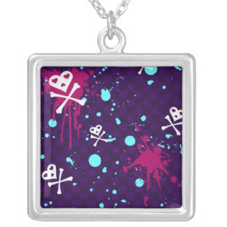 heart and skull pattern with paint splatters square pendant necklace