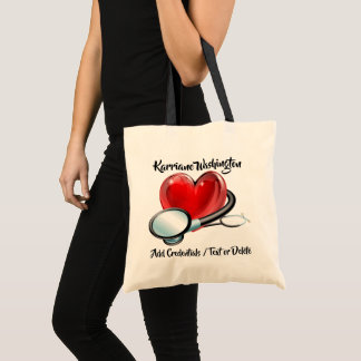 Heart and Stethoscope Medical Budget Tote