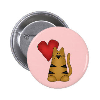 Heart and Striped Cat Tshirts and Gifts Pins
