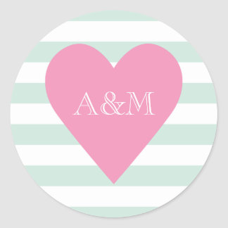 Heart and Stripes Engaged Round Sticker
