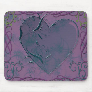 heart and swirls mouse pad
