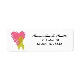 Heart and Yellow Ribbon Return Address Labels