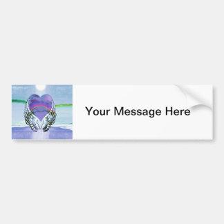 Heart, Angel Wings & Ocean Bumper Sticker