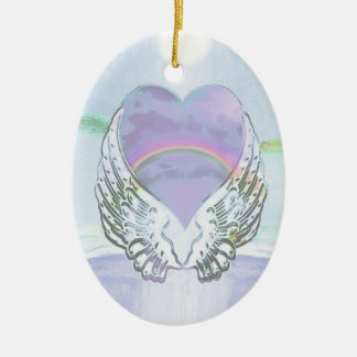 Heart, Angel Wings & Ocean Ceramic Oval Decoration