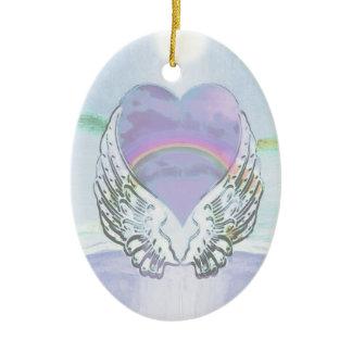Heart, Angel Wings & Ocean Ceramic Oval Decoration