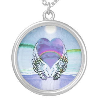 Heart, Angel Wings & Ocean Silver Plated Necklace